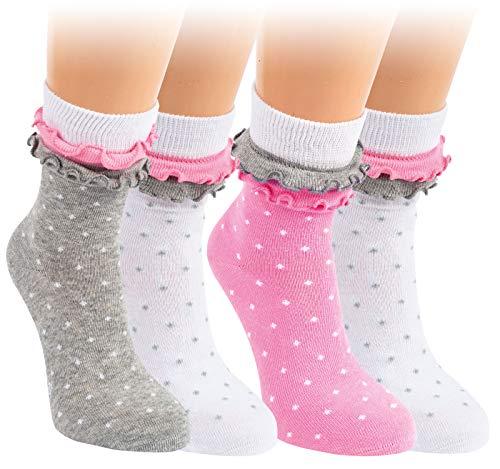 Vitasox 20823 Kinder Socken Mädchen Kindersocken Baumwolle Punkte Rüschen bunt gepunktet ohne Naht 4 Paar 27/30