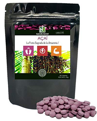 Açaí / 180 tabletas de 500 mg/NAKURU Boost/Polvo Orgánico Seco y Comprimido en Frío/Analizado y empacado en Suiza / La Fruta Sagrada de la Amazonía