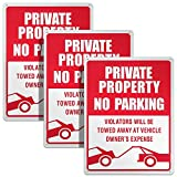 3 Piezas Señal de No Parking Señal de Propiedad Privada Cartel de Violators Will Be Towed Letrero de Aluminio sin Óxido Impermeable Uso Interior y Exterior, 10 x 14 Pulgadas