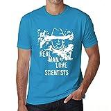 Homme Tee Vintage T Shirt Scientists, Real Men Love Scientists X-Large Bleu