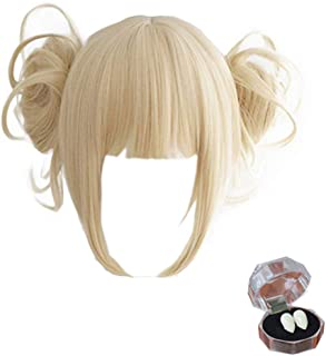 Anime Cosplay Wig with Free Wig Cap Short Blonde Ponytail Synthetic Wig for My Hero Academia Incidental Tiger Teeth(Yellow)