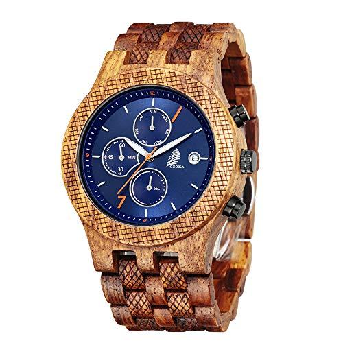 Reloj De Madera para Hombres, CZOKA Reloj de Movimiento de Cuarzo japonés con Pantalla analógica para Hombres con Pulsera de Pterocarpus soyauxii sándalo (Pterocarpus soyauxii)