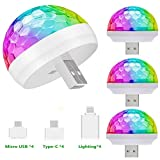 4 Packs USB Mini Disco Lights, OENEW Small Ball Stage Lamp with USB Port for Mobile Phone Car, Colorful RGB Bulb for Kids DJ Karaoke Club Bar Birthday Party Home