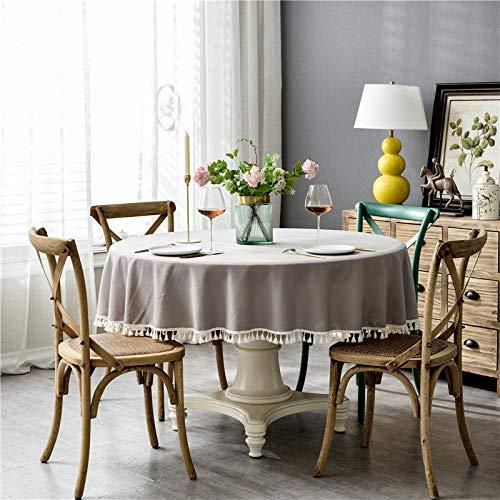 ShiyueNB waterdichte puur pigmentkleur imitatiekatoen en linnen vierkant kant kant ronde tafel salontafel tafelkleed tafelkleed Rund 180cm grijs + kwast (waterdicht).