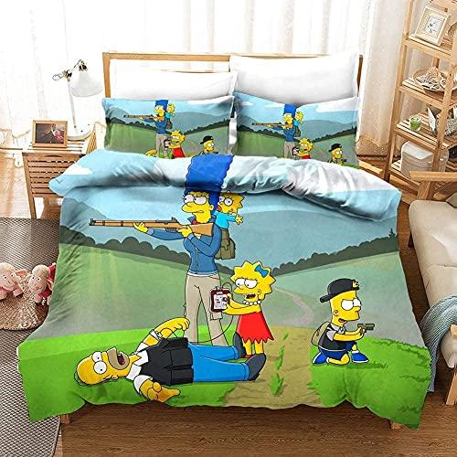 AQEWXBB The Simpsons - Copripiumino con motivo animato Homer, Maggie, Bart, Lisa e s, famiglia a 5 teste è super morbido e comodo, 3,135 x 200 cm + 80 x 80 cm x 2 cm