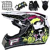 Kinder Motocross Helm, Unisex Adult Motorrad Helm, Cross Helm Set mit...