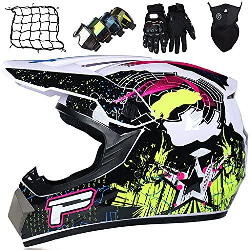 Casco Motocross Niños, Casco de Motocicleta Unisex Adultos, Conjunto de Casco Cross con Gafas/Guantes/Máscaras/Red elástica, Casco de MTB Enduro Downhill Offroad de Integral, Brillante Negro Blanco