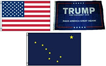 ALBATROS 3 ft x 5 ft Trump #1 with USA American with State of Alaska Set Flag for Home and Parades, Official Party, All Weather Indoors Outdoors