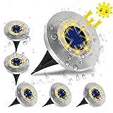 Luci Solari Giardino, VIFLYKOO Lampade da Giardino Solari 8LED Luci Led Solari da Esterno IP65 Impermeabile Luci Bianche per Esterno,Scala,Prato,Strade,Vialetto - 6 Pezzi