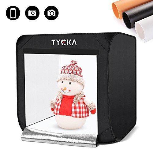 TYCKA フォトスタジオ 撮影ボックス 80x80x80cm/31.5x31.5x31.5インチ 2x105LEDライト付き 5500K 折りたた...