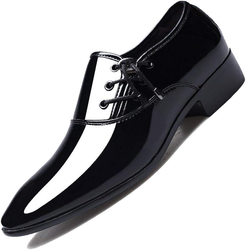 Zapatos de Vestir de Negocios para Hombres Cordones de Cuero de Charol Impermeables Zapatos de Boda con Punta Puntiaguda Tamaño Grande 48 Zapatos de Cuero Casuales para Hombres