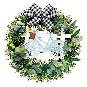 xiuersty Spring Easter Decorations Decor Wreath Artificial Wreath Flower Hanging Garland Ornaments Summer Wreath Front Door or Home Decoration