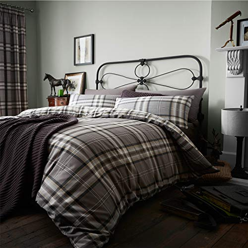 Catherine Lansfield Kelso Cotton Rich Double Duvet Set Charcoal