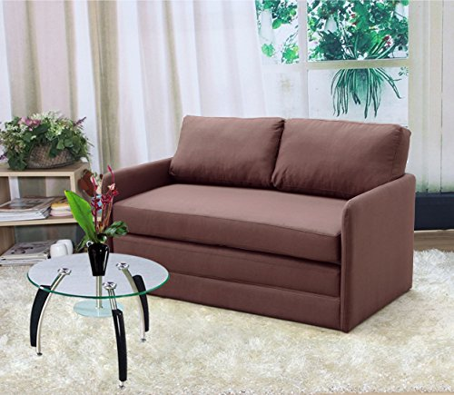 US Pride Furniture Kathy Reversible 5.1' Foam Fabric Loveseat and Sofa Bed Couch Sleeper, Brown