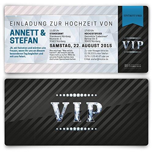Einladungskarten zur Hochzeit (30 Stück) als Eintrittskarte VIP Ticket Einladung UV-Lack