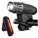 N&F Bike Headlight USB Rechargeable LED Bicycle Headlight IPX6 Waterproof Rear Tail Lights Fits All Bicycles, Road, Mountain Easy to Mount Fits