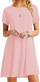 OMZIN Women Short Sleeve Loose Casual T-Shirt Tops Dress Plus Size XS-4XL 38837ba74