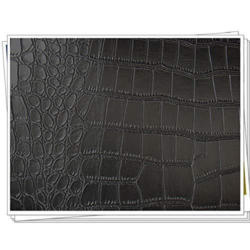 NIANTONG Patrón de Cocodrilo PU Tela de Imitación de Cuero por Metro Tela de Polipiel 138 Cm De Ancho para Manualidades, Reparación de Muebles, Negro(Size:1m)