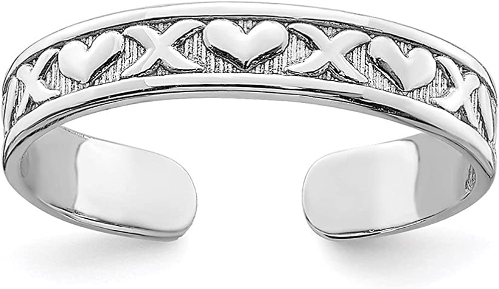 Diamond2Deal 14k White Gold Small X & Hearts Adjustable Toe Ring for Women