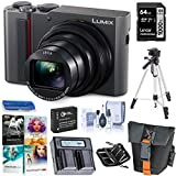 Panasonic Lumix ZS200 4K Digital Camera, 20.1 Megapixel, 15X Zoom Leica Lens DC-ZS200S Silver, Bundle with Bag, Battery, Dual Charger, 64GB SD Card + Case, Tripod, PC Software Kit, Cleaning Kit