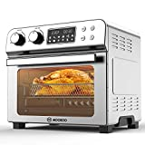 MOOSOO 10-in-1 Air Fryer Toaster Oven , 24 Quart/ 23L Large Air Fryer Oven, Convection Oven Airfryer with Rotisserie, Dehydrator & Pizza, 100 Recipes & 6 Accessories, 1700 W, Stainless Steel