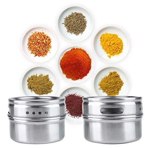 Xshuai® - 1 pot à condiments magnétique en acier inoxydable avec support (argent)