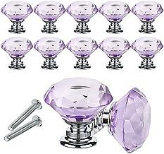 Quyi 12 STKS Lade Knoppen Kristallen Kabinet Knoppen Diamantvormige Kristal Glas Knoppen Trekt 30mm voor Dresser & Keuken,...
