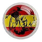 Tiradores de gabinete de cocina con bandera española de carga en una pelea de toros en la bandera española, tiradores para cajones con tornillos (paquete de 4)