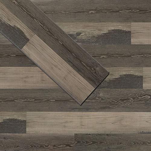 Soulscrafts Luxury Vinyl Plank Flooring LVT Flooring Tile Click Floating Floor Waterproof Foam Back SPC Rigid Core Wood Grain Finish 48 x 7 Inch Grey Maple (10-Pack, 23.6 sq.ft)