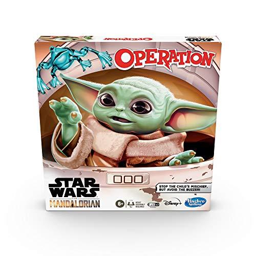 Hasbro Gaming Juego Operando: El Mandalariano de Star Wars - Juego de Mesa para niños de 6 años en adelante - El Niño, al Que los Fans Llaman Bebé Yoda, está Haciendo travesuras