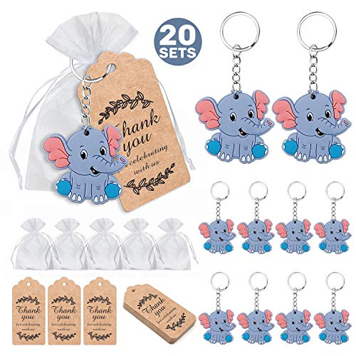 MOVINPE 20 Pcs Baby Shower Return Gifts for Guests, Blue Baby Elephant Keychains + Thank You Kraft Tags + Organza Bags for Elephant Theme Party Favors, Boys Kids Birthday Party Supplies