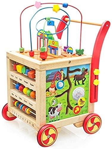 ? Brain Game Multifunctionele Houten Activity t peuter houten puzzel spel Cube Mold Shorter kraal doolhof leren p dagogisches Toys Baby T-Cube tigkeits Walker met Bead Maze, Gr ?? e ?: Gratis grootte,