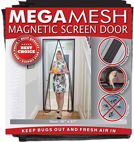 Magnetic Screen Door - Heavy Duty Reinforced Mesh & Full Frame Hook & Loop Actual Size 36 x 83...