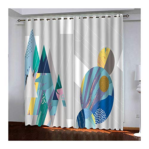AueDsa Vorhänge Aus Polyester Geometrie Grau Lichtdichte Vorhänge 98% Vorhänge Blickdicht 2er Set 264x214CM