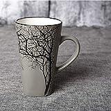 Taza de desayuno creativa taza de agua de cerámica para viaje, taza de café, cuchara de oficina, 500 ml, gran capacidad, envío gratuito (capacidad: 500 ml, color: gris)