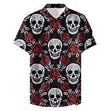 Camisa Informal de Manga Corta para Hombres, colección Calavera Hawaiian Beach Club, estilo1,4XL