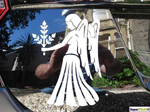 SUPERSTICKI Engel mit Ähren Blumen Strauß 20cm Aufkleber Sticker Decal aus Hochleistungsfolie Aufkleber Autoaufkleber Tuningaufkleber Racingaufkleber Rennaufkleber von aus Hochleistungsfolie fü
