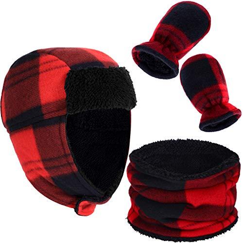 3 Piezas de Sombrero a Cuadros Invierno para Niños Pequeños y Bebés Sombrero con Forro Polar,...
