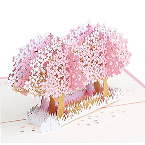 3D Cherry Blossom Card, Pop Up Greeting Card for Graduation, Anniversary, Thanksgiving Day, Birthday Pink