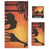 LUPINZ Toalla de mano con diseño de elefante y jirafa en África, juego de tres piezas