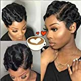 BLISSHAIR Short Finger Wave Curly Wigs for Women African American Pixie Cut Wig 100% Brazilian Human Hair Short Curly Wig Fashion Style Natural Black