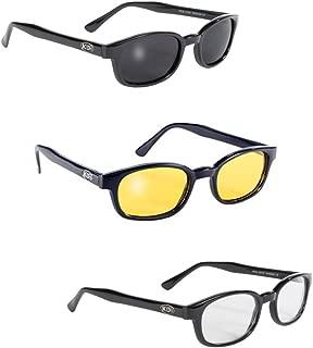 Original KD's Biker Sunglasses 3-pack Smoke, Yellow and Clear Lenses