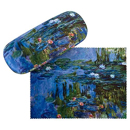 VON LILIENFELD VON LILIENFELD Brillenetui Claude Monet: Seerosen Blumen Brillenputztuch Brillenbox Stabiles Hardcase Set mit Putztuch