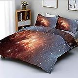 Juego de Funda nórdica, Imagen Detallada de Nebula Cloud Gas y Star Dust Universe Astronomy Print Juego de Cama Decorativo de 3 Piezas con 2 Fundas de Almohada, Azul Naranja Quemado, p