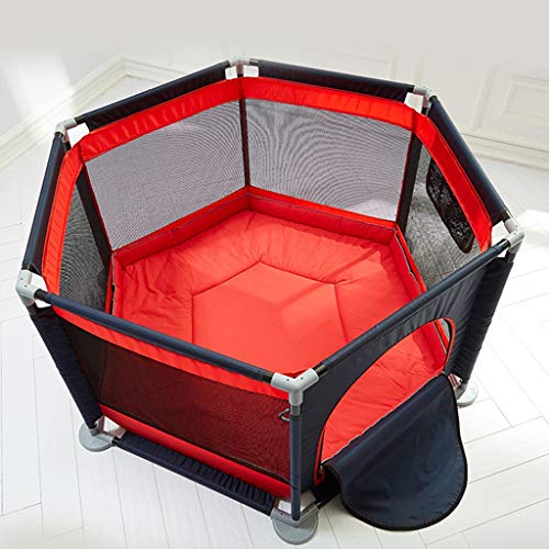 ERA Baby Playpen - Kids Safety Playpen with Self-Inflatable Mattress, Foldable Best Kids Play Home, Traveling, Beach Black (Color : Red, Size : B)