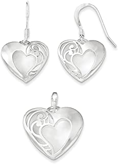 Lex & Lu Sterling Silver Polished Laser-Cut Earrings and Pendant Set