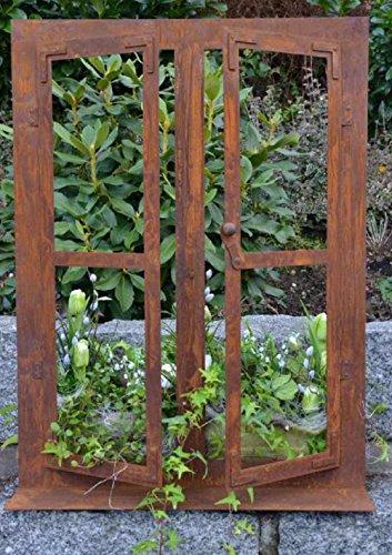 Edelrost Deko-Fenster auf Platte 80 x 60 cm zum Öffnen