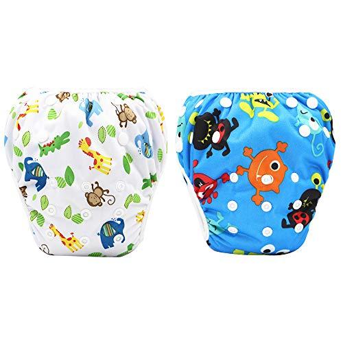 Gobesty Schwimmwindeln, 2 Stück Wiederverwendbare Baby-Schwimmwindel für Babys von 0 bis 3 Jahren, perfekt für Duschen, Strand Schwimmstunden