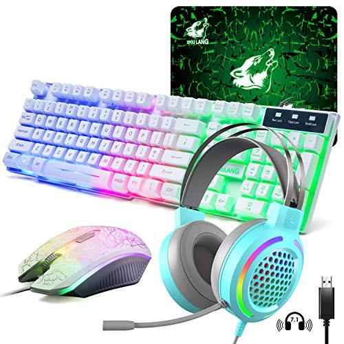 Teclado Cascos y Ratón Gaming, USB Blanco Retroiluminación del Arco Iris LED Teclado, Auriculares RGB de 7.1 Canales, 4 Botones 2400 DPI Ratón y Alfombrilla de Ratón para PS4 XBox(Necesita Adaptador)
