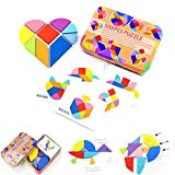 YTYASO Wooden Tangram Pattern Blocks Animals Jigsaw Puzzle,Classification and Stacking Game,Montessori Educational Toys for Kids,Early Educational Challenge IQ Brain Teasers Gift (Heart-Shaped)